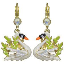 Kirks Folly Fairyland Swan Leverback  Earrings   goldtone