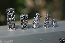 5 Tibetan Silver DREADLOCK BEADS 5mm - 8mm Hole (3/16' - 5/16')