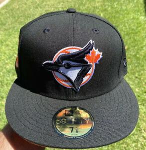 Exclusive Toronto Blue Jays Blk Orange UV New Era Fitted Hat 7 3/8 Not Hat Club