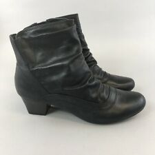 Caravelle Size 39 US8 UK6 Black Leather Ankle Zip Up Slouchy Heeled Bootie Boots