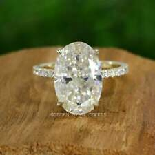 5.00 CT Colorless Crushed Ice Oval Moissanite Ring/ Hidden Halo Engagement Ring