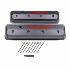 Proform 141-842 Slant-Edge SBC Centerbolt Tall Aluminum Valve Covers Gray Pair