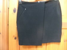 """New M&S size 8? waist 26"""" black short wrap over look SKIRT exposed back zip GOTH"""