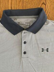 MINT Men's Medium UNDER ARMOUR Loose HeatGear Polo Shirt Gray Blue Striped