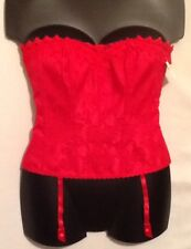 Sz 38 XL Frederick's Of Hollywood RED Sweetheart Corset MSRP $62 Boning Hook Eye