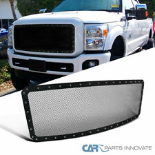 11-16 Ford F250 F350 F450 F550 Super Duty Mesh Rivet Black S/S Grille Insert