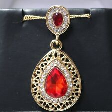 Vintage Pear Red Ruby Halo Pendant Necklace Wedding Anniversary Gift Nickel Free