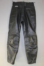 ASHMAN BLACK COWHIDE LEATHER BIKER TROUSERS SIZE 12 - WAIST 30IN/INSIDE LEG 30IN