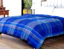 Hos Linens King Down Alternative Comforter All Season Reversible Navy/Blue Plaid