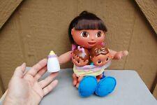 Mattel Fisher Price Dora Big Sister Doll Talking w/ Twin Baby Battery Works 2004