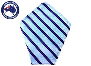 Men's Pocket Square Sky Blue Floral Purple Black Stripes Flower Handkerchief