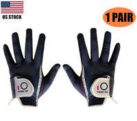 Mens Golf Gloves Pair Rain Grip L Large XL ML Medium Both Hand Pr Black Gray Pr