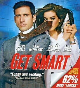 Get Smart 2008 PG-13 comedy spy spoof movie mint Blu-ray Carell Hathaway Johnson