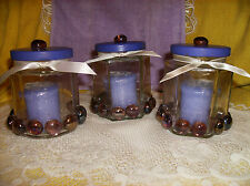 LILAC YANKEE CANDLE & PURPLE GLASS GEM CANDLE HOLDER-JEWELRY-COTTON BALLS/PAD#3