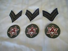 6 MILITARY PATCHES-3 Patches 2 Stripes 3 Patches A inside a 6 point Star