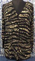 CHICOS Size 2 L Large 12 Zebra Leopard Cardigan Long Sleeve Sweater