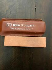 Vintage New Holland Sharpening Stone With Case Agriculture Farm Advertising