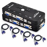 iKKEGOL 4-Port Monitor VGA SVGA USB 2.0 KVM Switch w/4 Cables Mouse 2 Port