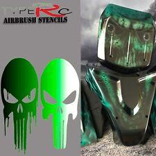 AEROGRAFO Stencil per RC Corpo, Punisher Skull Set 2 pezzi, taglio laser, riutilizzabile