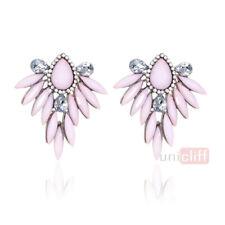 18K Gold Filled GF Swarovski Crystal Bohemian  Elements Pink Hoop Drop Earrings
