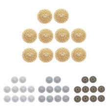 Gold Plated Round Filigree Flower Pendant Charms Connectors 10 Pcs 36 mm