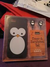 kids Penguin Iphone 5,5s, &5c phone case cover a d headphones...new in box