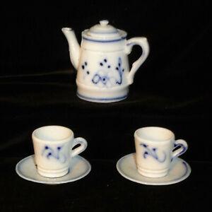 Rare  Childs Miniature Flow Blue Onion COFFEE POT SET 1860 Dollhouse Germany