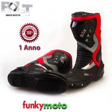 Stivali in misto pelle scamosciato sintetico per motociclista