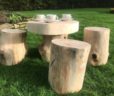 Rustic log garden table and log stools, perfect for a fairy garden, real wood