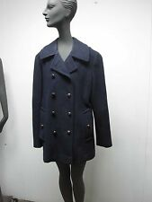 Vtg Womens Mackintosh Authentic Peacoat ~ Navy Blue Wool w Leather Buttons Sz 10
