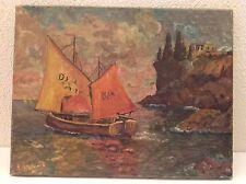 Tableau Impressionniste Marine Bateau Côte Bretonne signé huile sur toile