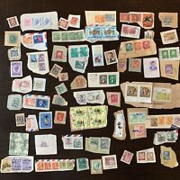 WORLDWIDE JUNK STAMP LOT ON PAPER COLLECTION. CHINA, KOREA, VATICAN & MORE