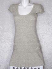 Cache C Cache Wool Blend Ruffle Dress Cap Sleeve Heather Grey Cream160 84A Small