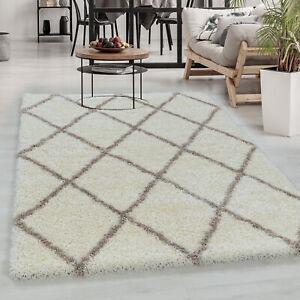Hochflor Teppich, Designer Shaggy Teppich, Raute Linien,Weicher Oberfläche CREME