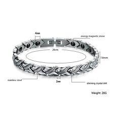 Women Crystal Titanium Magnetic Energy Germanium Armband Bracelet Health Therapy