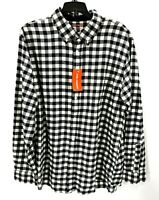 Joe Fresh Mens Black White Check Flannel Button Long Sleeve Up Shirt Size Large