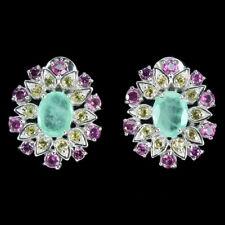 Unheated Oval Emerald Rhodolite Sapphire Diamond Cut 925 Sterling Silver Earring