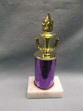 torch wreath purple column trophy award marble base