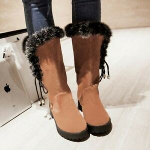 Womens Suede Mid Calf Tassel Lace Up Fur Trim Block Heel Casual Ankle Boots