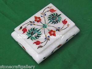 Marble Jewelry Box Handmade Inlay Work Stone Arts Work For Gift