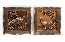 Vintage Copper Craft Guild Pheasant Turkey Quail Wild Bird Wall Hangings 1963