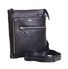 Real Leather Crossbody Messenger Bag ipad Tablet Travel Casual Black Unisex Bag