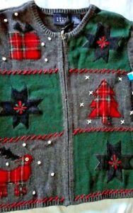 Crazy Horse Christmas Zipper Cardigan Large Plaid Present, Tree, Reindeer