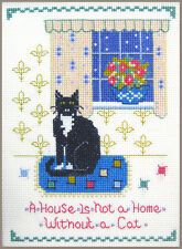 Gato En Casa Sampler-Cross Stitch Kit Completo En 14 cuadro de color Aida con