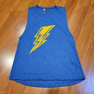 New Lft Clothing Co Heather Blue with Yellow Lightning Bolt Muscle Tank, Medium