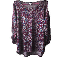 Coral Bay Multicolored Top Women's Size XL Purple Blue 3/4 Sleeve