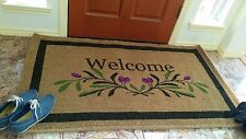 "Olive Border Welcome Coir Mat 36"" x 72"" x 1"""