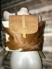 MYRA BAG Hair-on Cowhide Purse Eco Upcycled Backpack Tote Chestnut Pony NWT NEW