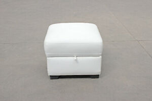 White Ottoman Storage Footstool Pouffe With Hinged Lid 54 x 54 x 46cm CLEARANCE