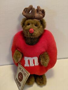 "Boyds Stuff Bears JINGLES T MCPEEKER Plush 9"" Red M&M Reindeer Bear NWT"
